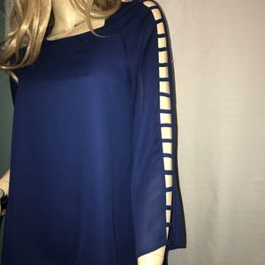 Necessary Objects Navy cut-out chiffon blouse